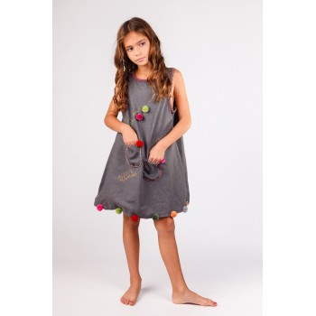 Robe chasuble Grise 8 - 9 ans